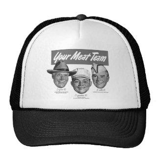 Kitsch Vintage 'Meet your Meat Team' Ad Art Trucker Hat