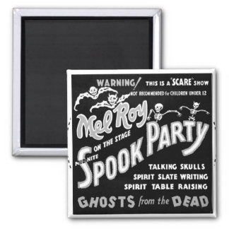 Kitsch Vintage 'Mel Roy's Spook Party' Halloween 2 Inch Square Magnet
