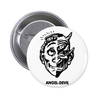 Kitsch Vintage Monster Angel and Devil Man Button