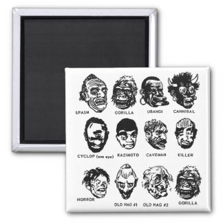 Kitsch Vintage Monster Masks with Hair 2 Inch Square Magnet