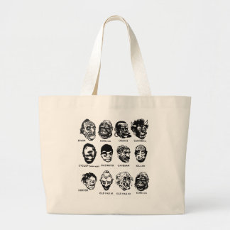 Kitsch Vintage Monster Masks with Hair Canvas Bags