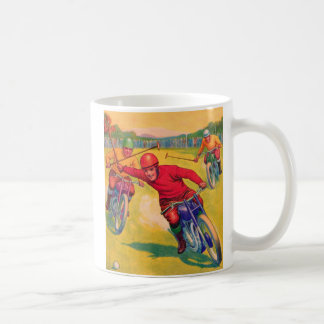 Kitsch Vintage Odd Sports 'Motorcycle Polo' Classic White Coffee Mug