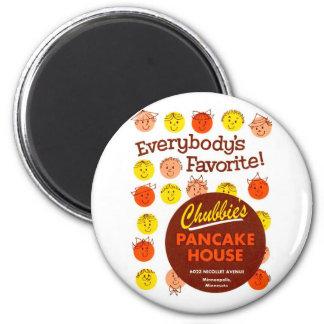 Kitsch Vintage Pancake House 'Chubbie's' 2 Inch Round Magnet