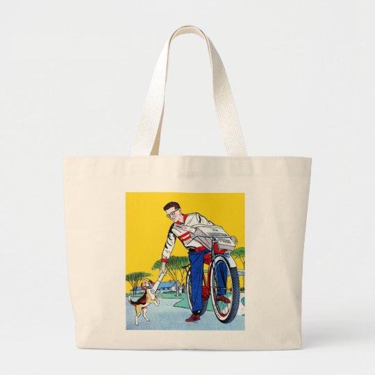 Kitsch Vintage Paper Boy & Dog Large Tote Bag