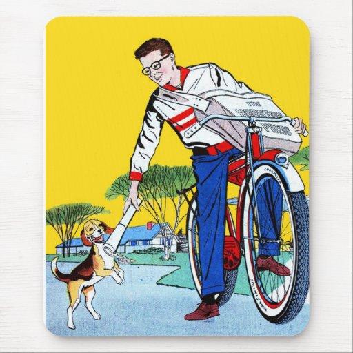 Kitsch Vintage Paper Boy & Dog Mousepads