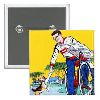 Kitsch Vintage Paper Boy & Dog Pinback Button