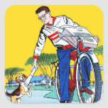 Kitsch Vintage Paper Boy & Dog Square Sticker