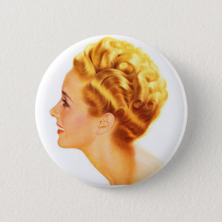 Kitsch Vintage Pin-Up Girl Classic Profile Button