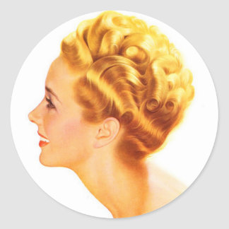 Kitsch Vintage Pin-Up Girl Classic Profile Classic Round Sticker