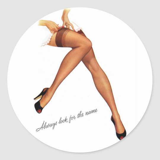 Kitsch Vintage Pin-Up Legs Stockings Classic Round Sticker