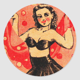 Kitsch Vintage Pin Up Mimi Snappy Bubble Dancer Classic Round Sticker