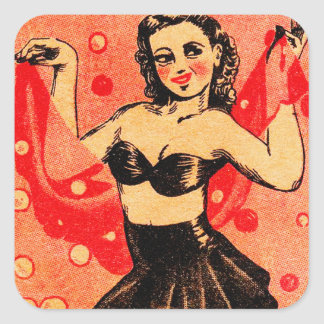 Kitsch Vintage Pin Up Mimi Snappy Bubble Dancer Square Sticker