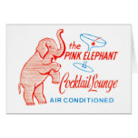 Kitsch Vintage Pink Elephant Cocktail Lounge Greeting Card