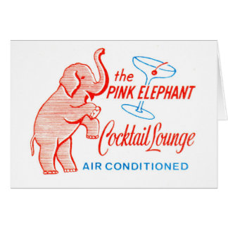 Kitsch Vintage Pink Elephant Cocktail Lounge Greeting Card