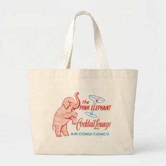 Kitsch Vintage Pink Elephant Cocktail Lounge Large Tote Bag