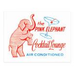 Kitsch Vintage Pink Elephant Cocktail Lounge Postcard