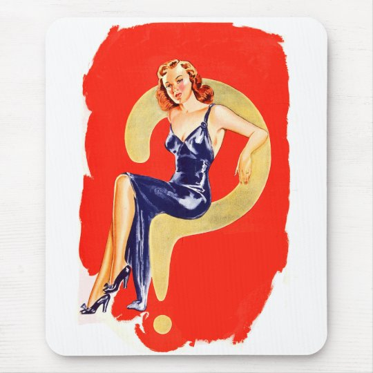 Kitsch Vintage Pinup Girl 'Questionable Girl?' Mouse Pad