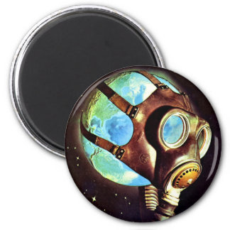 Kitsch Vintage Polluted Earth Gas Mask Magnet
