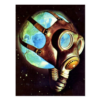 Kitsch Vintage Polluted Earth Gas Mask Postcard