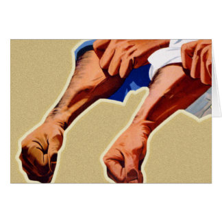 Kitsch Vintage Propaganda Poster Two Fisted Worker Greeting Card