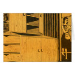 Kitsch Vintage Retro 60s Suburbs Plywood Cabinets Greeting Card