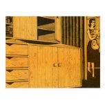 Kitsch Vintage Retro 60s Suburbs Plywood Cabinets Postcard