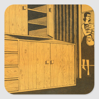 Kitsch Vintage Retro 60s Suburbs Plywood Cabinets Square Sticker
