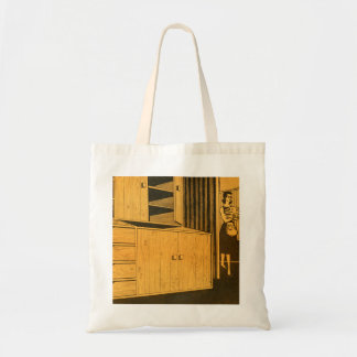 Kitsch Vintage Retro 60s Suburbs Plywood Cabinets Tote Bag