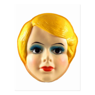 Kitsch Vintage Retro Blow Up Doll Face Postcard