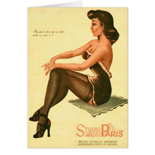 Kitsch Vintage Retro Pin-Up Girl 'Paris Studios' Card
