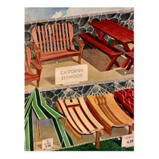Kitsch Vintage Retro Redwood Suburban Furniture Postcard
