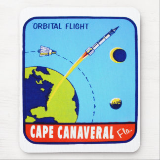 Kitsch Vintage Retro Space Cape Canaveral Decal Mouse Pad
