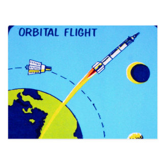 Kitsch Vintage Retro Space Cape Canaveral Decal Postcard