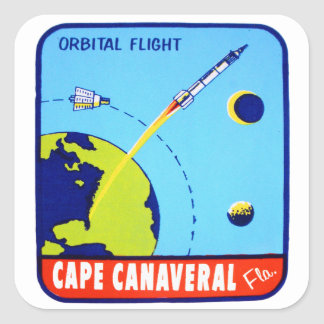 Kitsch Vintage Retro Space Cape Canaveral Decal Square Sticker