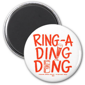 Kitsch Vintage Ring-a-Ding Ding Beer Time Ad 2 Inch Round Magnet