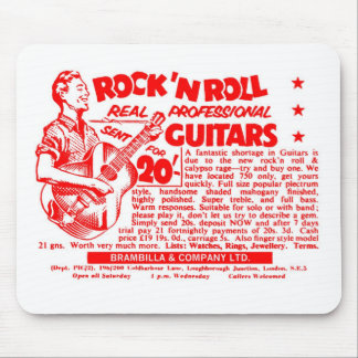 "Kitsch Vintage Rock N' Roll 'Guitars, 20 Quid!"" Mouse Pad"