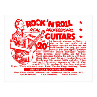 "Kitsch Vintage Rock N' Roll 'Guitars, 20 Quid!"" Postcard"