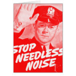 Kitsch Vintage Safety 'Stop Needless Noise' Card