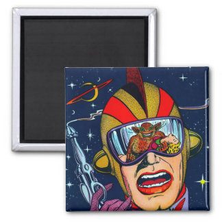 Kitsch Vintage Sci-Fi Space Ranger Shooter 2 Inch Square Magnet