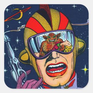 Kitsch Vintage Sci-Fi Space Ranger Shooter Square Sticker