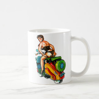 Kitsch Vintage Scooter Pin-Up Girl Classic White Coffee Mug