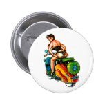 Kitsch Vintage Scooter Pin-Up Girl Pinback Button