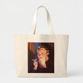 Kitsch Vintage Smoking Cigarette Pin-Up Girl Canvas Bag