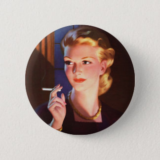 Kitsch Vintage Smoking Cigarette Pin-Up Girl Button