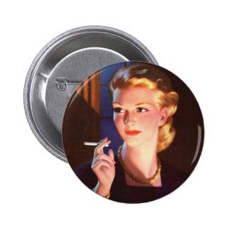 Kitsch Vintage Smoking Cigarette Pin-Up Girl Button