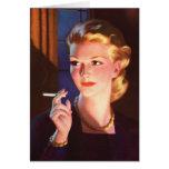 Kitsch Vintage Smoking Cigarette Pin-Up Girl Card