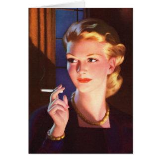 Kitsch Vintage Smoking Cigarette Pin-Up Girl Greeting Card