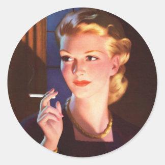 Kitsch Vintage Smoking Cigarette Pin-Up Girl Classic Round Sticker