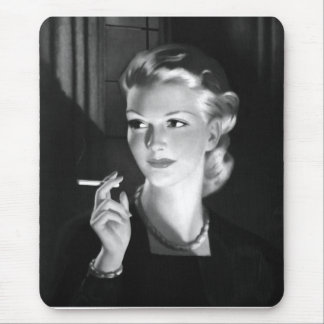 Kitsch Vintage Smoking Cigarette Pin-Up Girl Mouse Pad
