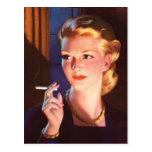 Kitsch Vintage Smoking Cigarette Pin-Up Girl Post Card